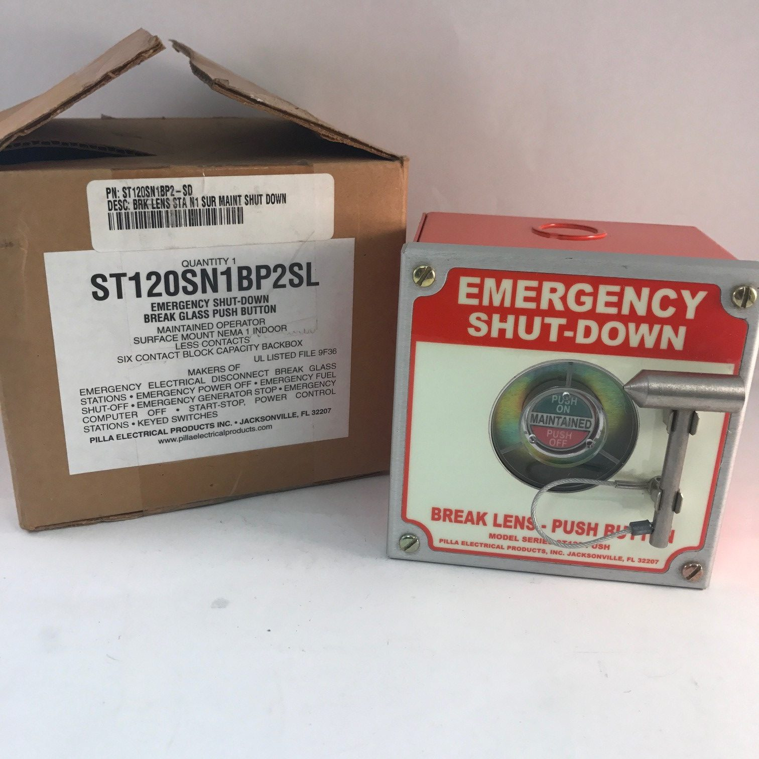 Pilla Electrical ST120SN1BP2SL Emergency Shut-Down Break Glass Push Button